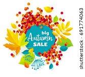 autumn leaves vector sale... | Shutterstock .eps vector #691774063