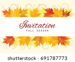 fall invitation card design... | Shutterstock .eps vector #691787773
