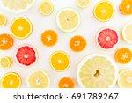 citrus fruit pattern made of... | Shutterstock . vector #691789267