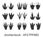 dinosaur print set. foot... | Shutterstock .eps vector #691799383