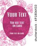 pink orchid line card design.... | Shutterstock .eps vector #691806433