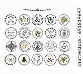 black and golden hand drawn... | Shutterstock .eps vector #691814647