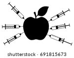 apple with a syringe.... | Shutterstock .eps vector #691815673