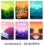 nature vector brochure cards... | Shutterstock .eps vector #691828993