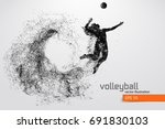 silhouette of volleyball player....