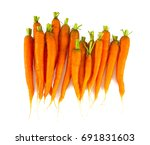 Fresh Carrots On White...