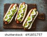 chilean completo italiano. hot... | Shutterstock . vector #691851757