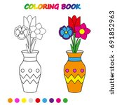 flowers in vase    coloring... | Shutterstock .eps vector #691852963
