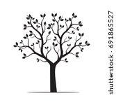 black tree. vector illustration. | Shutterstock .eps vector #691865527