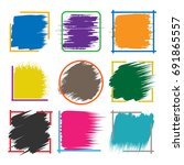 colored brush stroke boxes.... | Shutterstock .eps vector #691865557