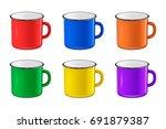 vector realistic enamel metal... | Shutterstock .eps vector #691879387