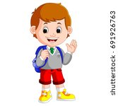 vector illustration of cute boy ... | Shutterstock .eps vector #691926763