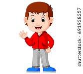 vector illustration of cute boy ...   Shutterstock .eps vector #691928257