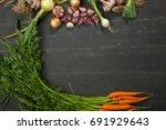 fresh garlic  carrots and... | Shutterstock . vector #691929643