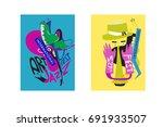 colorful international jazz... | Shutterstock .eps vector #691933507