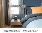 modern lamp style on table side ... | Shutterstock . vector #691937167
