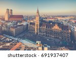 aerial view on munich old town... | Shutterstock . vector #691937407