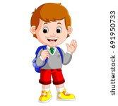 cute boy on his way to school   Shutterstock . vector #691950733