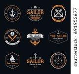 vintage sailor   nautical badges | Shutterstock .eps vector #691952677