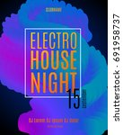 electronic music party poster.... | Shutterstock .eps vector #691958737