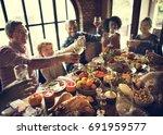 thanksgiving celebration...   Shutterstock . vector #691959577
