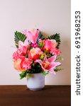 flower vases on table | Shutterstock . vector #691968253
