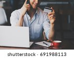 young business man using credit ...   Shutterstock . vector #691988113