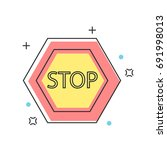stop sign construction ... | Shutterstock .eps vector #691998013