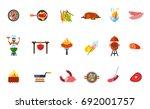 summer picnic food icon set   Shutterstock .eps vector #692001757