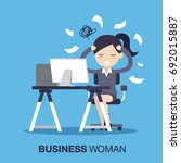 busy of time business woman in... | Shutterstock .eps vector #692015887