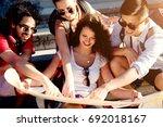 group of beautiful best friends ... | Shutterstock . vector #692018167