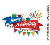 happy birthday typography...   Shutterstock .eps vector #692028007