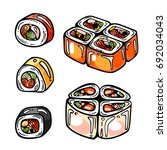 vector set of icons sushi and... | Shutterstock .eps vector #692034043