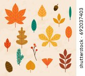 Autumn Leaves Set. Flat Design...