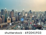 searching location on map and... | Shutterstock . vector #692041933
