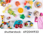 variety of colorful baby toys... | Shutterstock . vector #692044933
