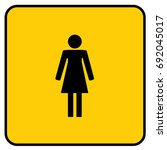 female wc toilet sign yellow.... | Shutterstock .eps vector #692045017