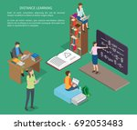 distance learning of people... | Shutterstock .eps vector #692053483