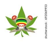 rasta logo. rastafarian hat and ... | Shutterstock . vector #692069953