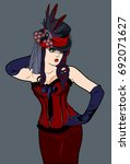 beautiful girl in a corset and... | Shutterstock .eps vector #692071627