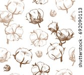 cotton plant . vector seamless... | Shutterstock .eps vector #692090113