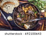 fresh fried veal liver with... | Shutterstock . vector #692100643