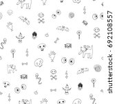 icons and halloween objects... | Shutterstock .eps vector #692108557