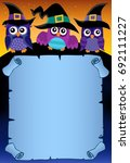 halloween parchment with owls... | Shutterstock .eps vector #692111227