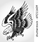 swooping tattoo eagle | Shutterstock .eps vector #69211609