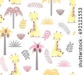 baby giraffe seamless pattern.... | Shutterstock .eps vector #692121553