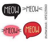 meow. set of lettering and hand ... | Shutterstock .eps vector #692125063