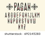 Vector alphabet set. Capital letters in geometric ethnic style with red points. For hipster theme, trendy posters. | Shutterstock vector #692145283