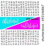 mega set of 200 hand lettering... | Shutterstock .eps vector #692146867