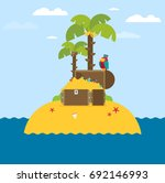 open treasure chest and pirates ... | Shutterstock .eps vector #692146993